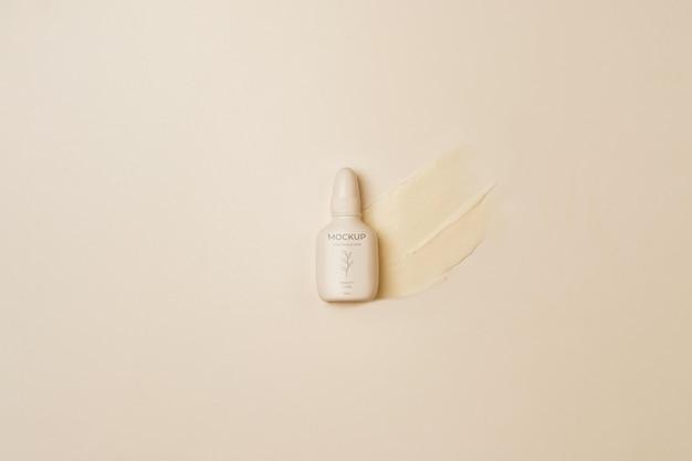 Vista superior do recipiente de produtos cosméticos