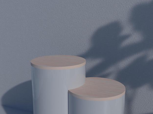 Vista superior dois pódios para o produto na colocação superior