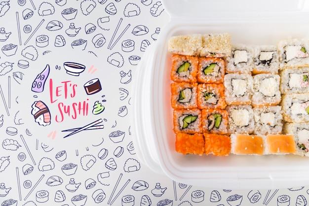 Vista superior dos arranjos de sushi