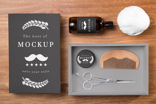 Vista superior dos produtos para cuidados da barba em conjunto com pente