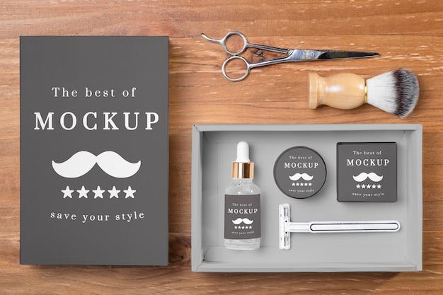 Vista superior dos produtos para cuidar da barba em conjunto com uma tesoura