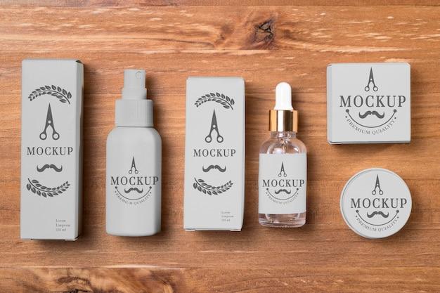 Vista superior dos produtos para cuidar da barba