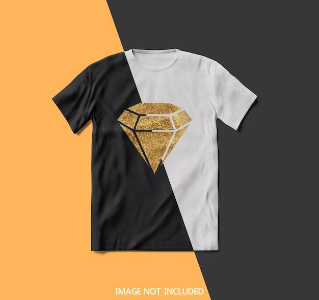Vista superior em maquete de camiseta em preto e branco
