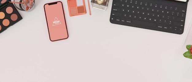 Vista superior em smartphone com maquete de tela