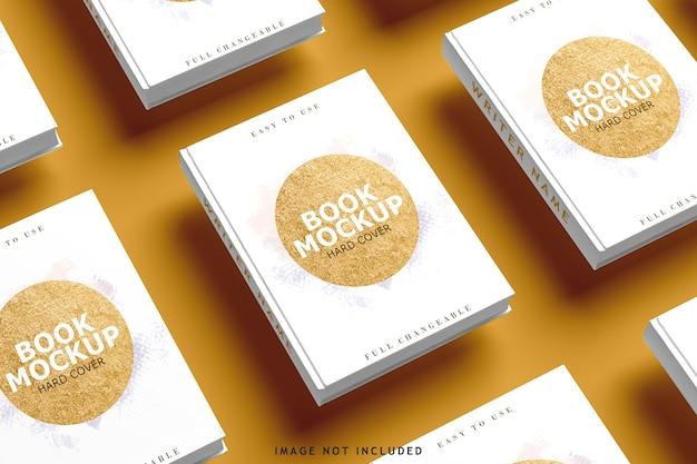 Vista superior em várias maquetes de capas de livro
