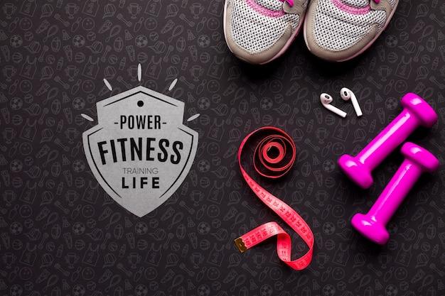 Vista superior equipamentos de aula de fitness