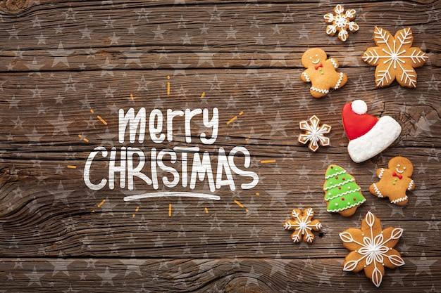 Vista superior festiva decorações de natal
