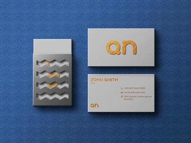 Vista superior maquete de cartão de visita de luxo com caixa de cartão