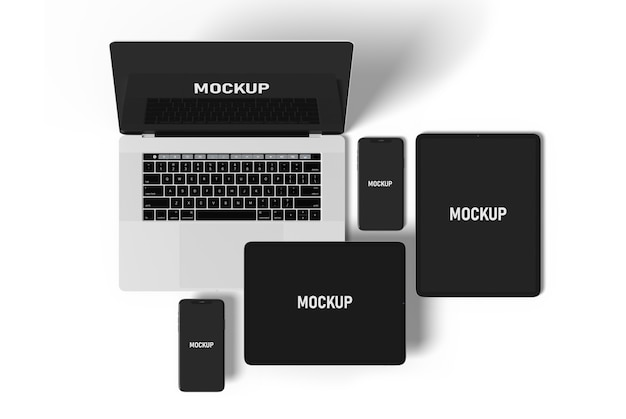 Vista superior maquete de dispositivos