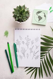 Vista superior mock-up notebook e artigos de papelaria perto de planta suculenta