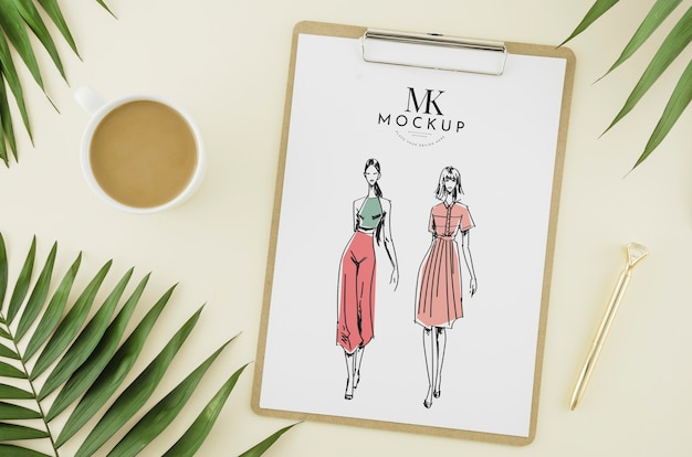 Vista superior moda desenho com maquete