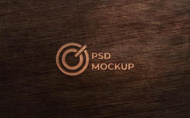 Vista superior na elegante maquete do logotipo com design aproximado