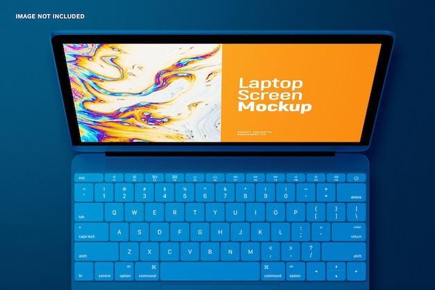 Vista superior na maquete da tela do laptop