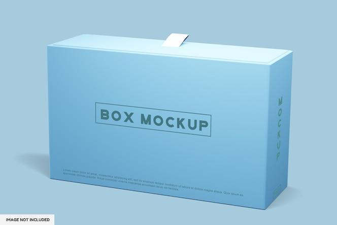 Vista superior na maquete de caixa de embalagem de paisagem