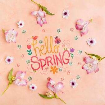 Vista superior olá conceito de quadro de primavera