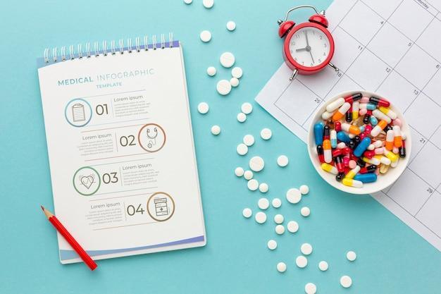 Vista superior pílulas e notebook arranjo