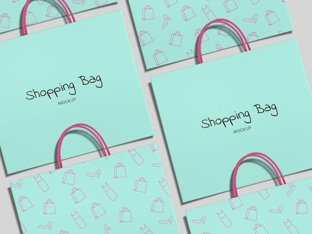 Vista superior realista compras modelo de maquete de sacos de papel