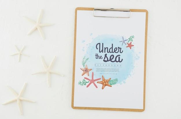 Vista superior sob o mar, desenho com maquete