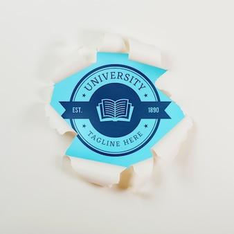 Vista superior universidade logotipo conceito