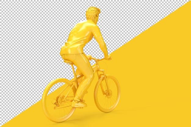 Vista traseira de um ciclista andando de bicicleta em renderização 3d