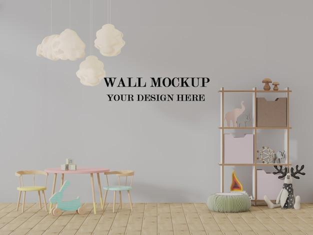 Visualização em 3d de maquete de parede de jardim de infância