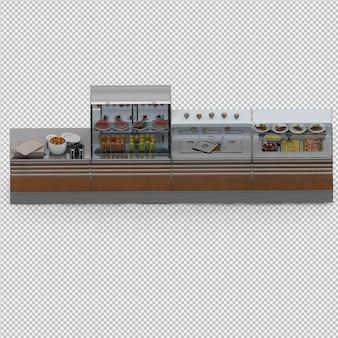 Vitrine com comida 3d render