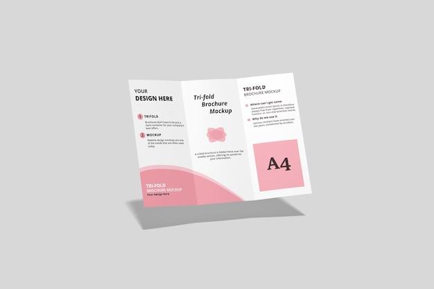 Voando a4 com três dobras de brochura em renderização 3d