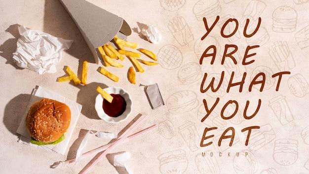 Você é o que você come com maquete Psd grátis