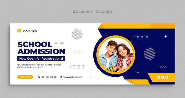 Volta às aulas banner da web de mídia social e modelo de design de foto de capa do facebook