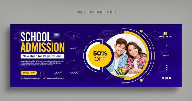 Volta às aulas mídia social banner panfleto e modelo de capa do facebook