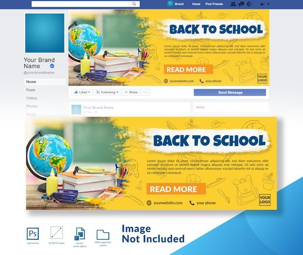 Volta para a bandeira da escola social media cover banner template