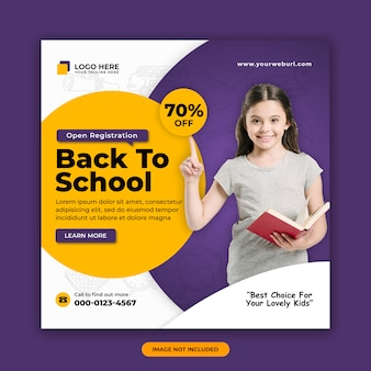 Volta para modelo de design de banner de postagem de mídia social de admissão escolar