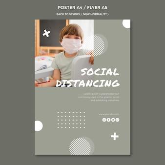 Volta para o design de folheto escolar