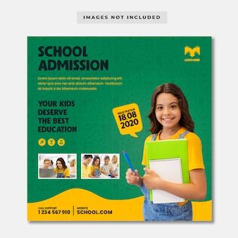 Volta para o modelo de banner de admissão escolar