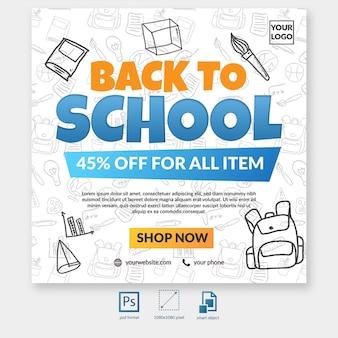 Volta para oferta especial de venda de escola com o elemento de mídia social postar modelo