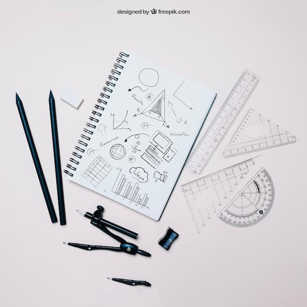 Voltar ao modelo da escola com caderno e definir quadrados