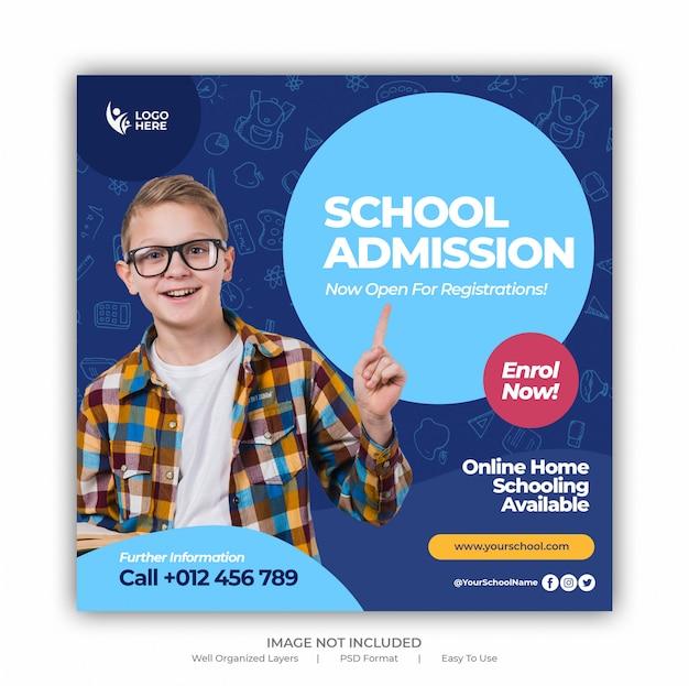 Voltar para a admissão escolar, marketing de mídia social postar ou modelo de banner