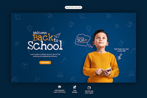 Voltar para a escola com desconto oferecer modelo de banner da web