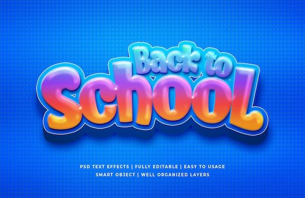 Voltar para a escola efeito de estilo de texto 3d