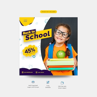 Voltar para o modelo de postagem de mídia social de promoção especial de desconto de escola