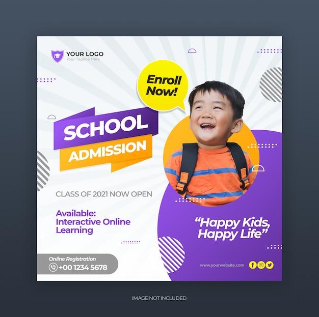 Voltar para promoção de admissão escolar para mídias sociais postar modelo de banner