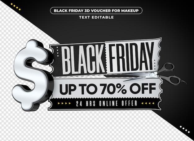 Voucher 3d da black friday para maquiagem