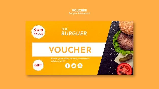 Voucher de hambúrguer delicioso fast-food
