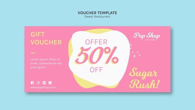 Voucher para design de loja de doces pop