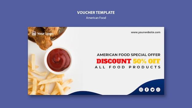 Voucher para restaurante de comida americana