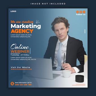 Webinar ao vivo para mídia social corporativa de marketing digital e modelo de banner de postagem do instagram