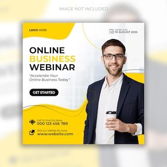 Webinar de marketing digital ao vivo e pós-design de mídia social corporativa
