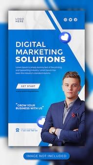 Webinar de marketing digital ao vivo e workshop de mídia social modelo de história para facebook e instagram