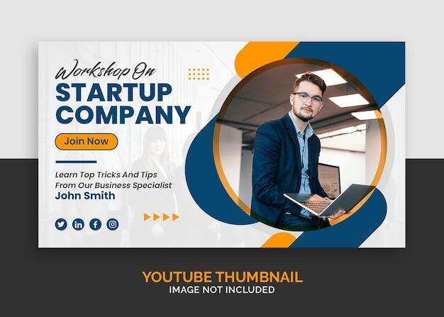 Webinar de negócios corporativos para marketing de miniatura do youtube ou modelo de banner da web