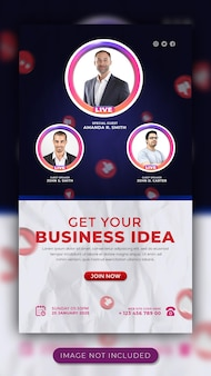 Webinar de promoção de negócios ao vivo e workshop modelo de história de mídia social para facebook e instagram